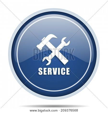 Service blue round web icon. Circle isolated internet button for webdesign and smartphone applications.