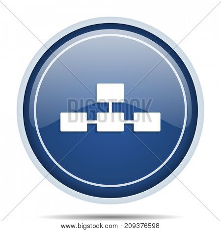 Database blue round web icon. Circle isolated internet button for webdesign and smartphone applications.