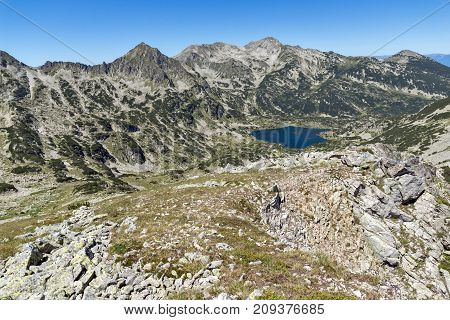 Amazing Landscape of Popovo lake, Dzhangal and Polezhan peaks from Dzhano peak, Pirin Mountain, Bulgaria