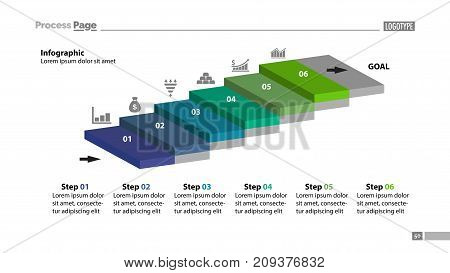 Six steps process chart slide template. Business data. Startup, diagram, design. Creative concept for infographic, presentation, report. Can be used for topics like marketing, economics, research.