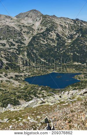 Amazing Landscape of Popovo lake and Polezhan peaks from Dzhano peak, Pirin Mountain, Bulgaria