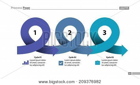 Three points process chart slide template. Business data. Scheme, step, design. Creative concept for infographic, presentation, report. Can be used for topics like management, planning, production.