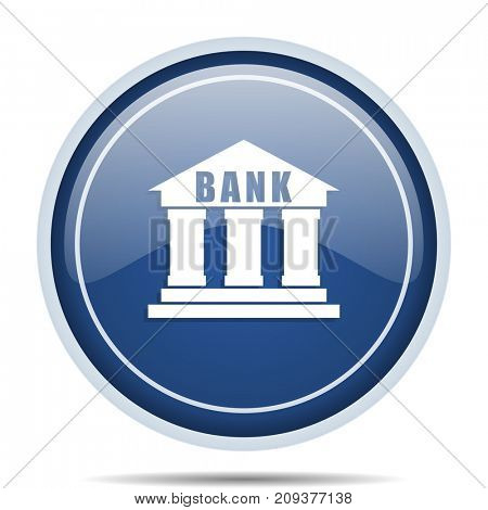 Bank blue round web icon. Circle isolated internet button for webdesign and smartphone applications.