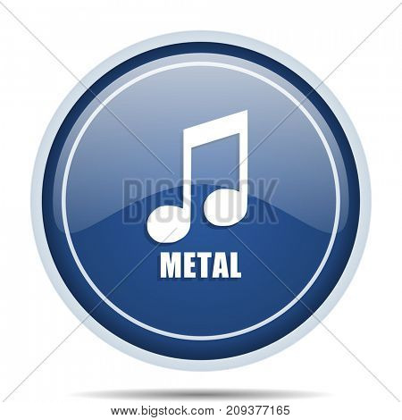 Metal music blue round web icon. Circle isolated internet button for webdesign and smartphone applications.