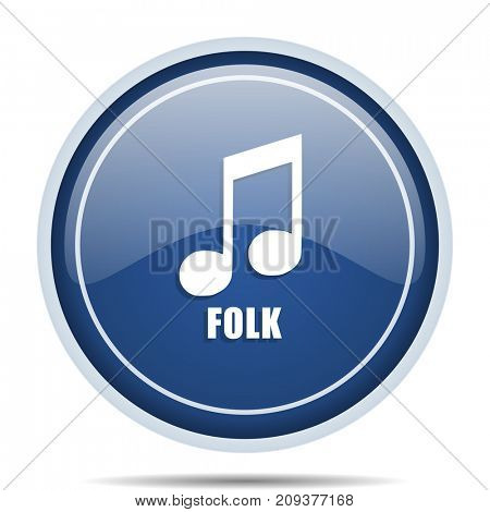 Folk music blue round web icon. Circle isolated internet button for webdesign and smartphone applications.
