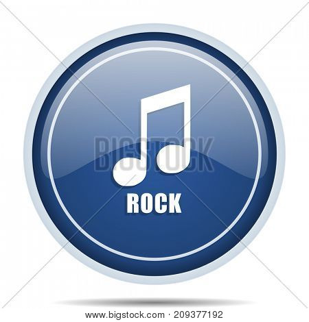 Rock music blue round web icon. Circle isolated internet button for webdesign and smartphone applications.