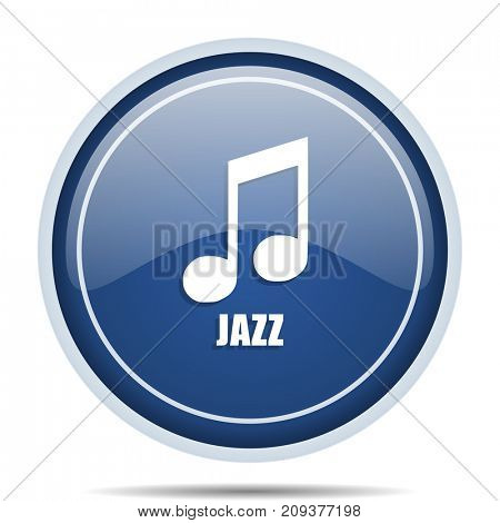 Jazz music blue round web icon. Circle isolated internet button for webdesign and smartphone applications.