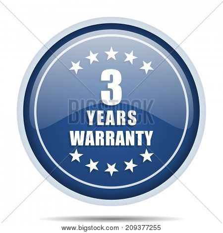 Warranty guarantee 3 year blue round web icon. Circle isolated internet button for webdesign and smartphone applications.