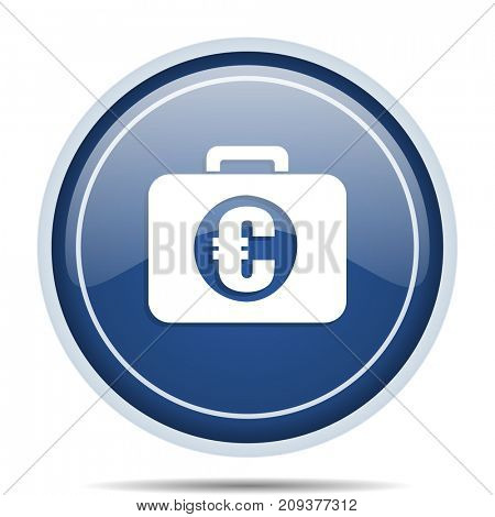Financial blue round web icon. Circle isolated internet button for webdesign and smartphone applications.