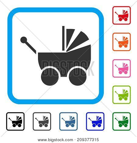 Pram icon. Flat gray iconic symbol in a light blue rounded square. Black, gray, green, blue, red, orange color versions of Pram vector. Designed for web and app UI.