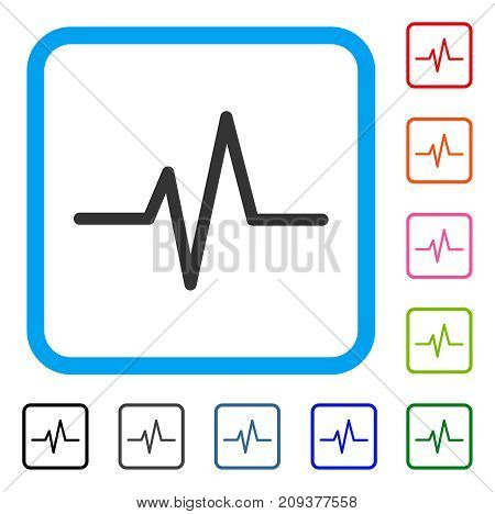 Pulse icon. Flat gray pictogram symbol inside a light blue rounded rectangle. Black, gray, green, blue, red, orange color versions of Pulse vector. Designed for web and app user interface.