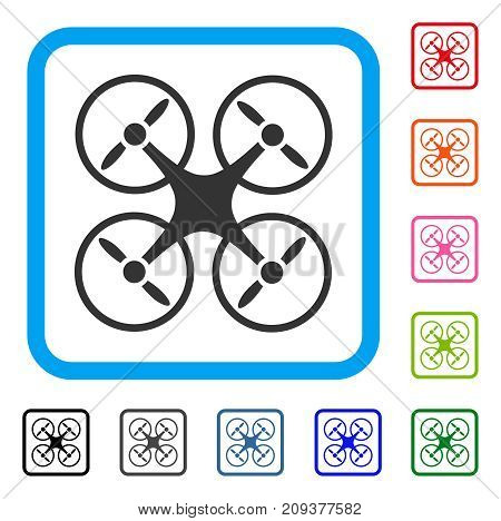 Quadcopter icon. Flat gray iconic symbol inside a light blue rounded frame. Black, gray, green, blue, red, orange color additional versions of Quadcopter vector.