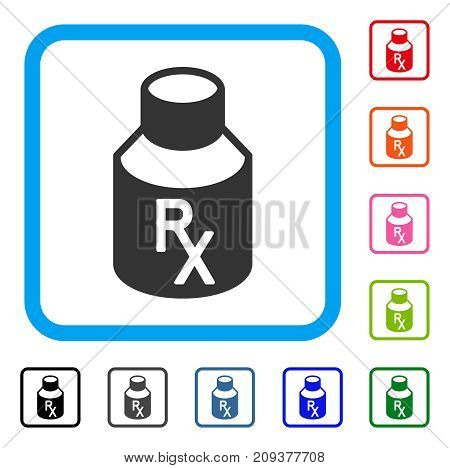 Receipt Vial icon. Flat grey pictogram symbol inside a light blue rounded rectangle. Black, gray, green, blue, red, orange color versions of Receipt Vial vector.