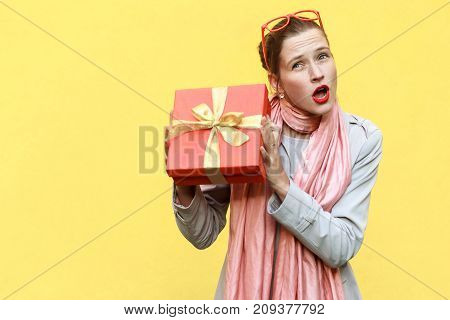 Cant Stand, Its My! Playfully Young Adult  Girl Holding Gift Box. S