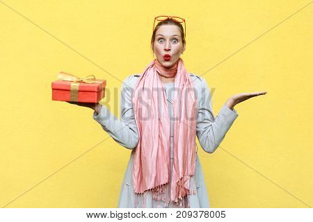 Hand On Sides And Holding Christmas Box. Woman Looking At Camera With Shocked Face And Open Mouth.