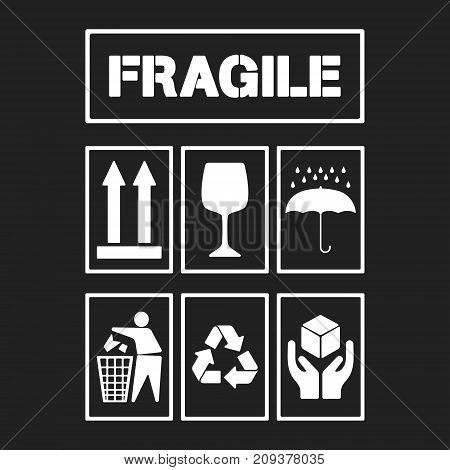 White package handling labels isolated on black background. Fragile, this side up, glass, keep dry, keep clean, recycling, handle with care symbol. Vector illustration.