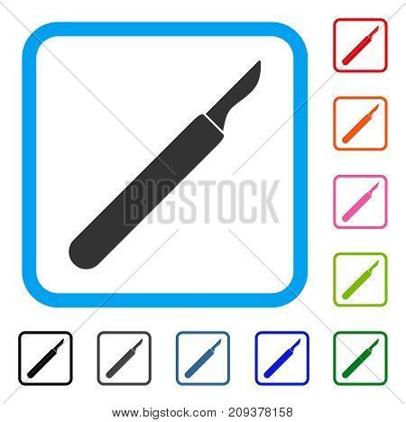Scalpel icon. Flat gray iconic symbol in a light blue rounded rectangular frame. Black, gray, green, blue, red, orange color versions of Scalpel vector. Designed for web and software UI.