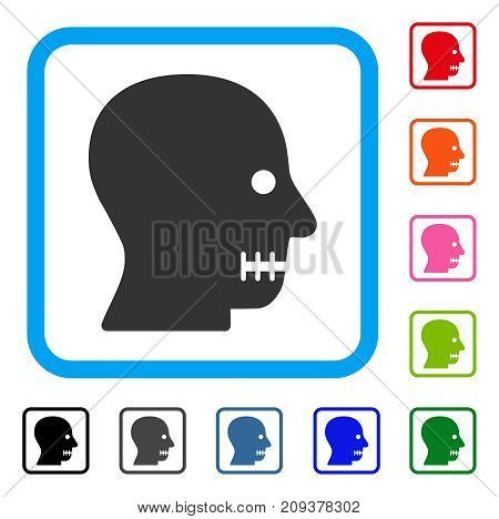 Sewn Mouth icon. Flat gray iconic symbol inside a light blue rounded squared frame. Black, gray, green, blue, red, orange color variants of Sewn Mouth vector. Designed for web and app UI.