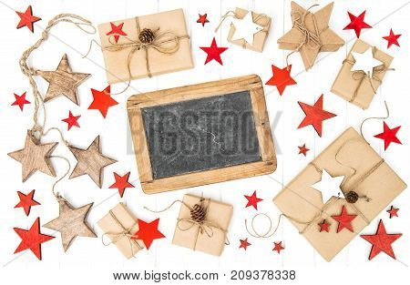 Gifts christmas decoration and chalkboard for your text