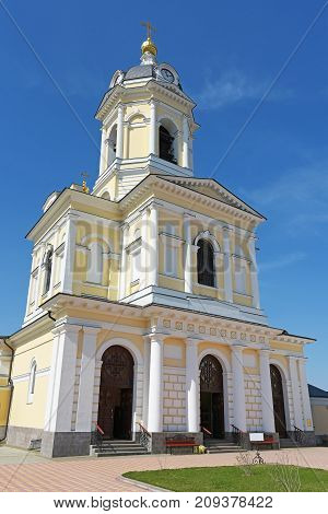 Vysotsky monastery in Serpukhov, Russia. The belltower and the gate Church of the three hierarchs. Orthodox monastery