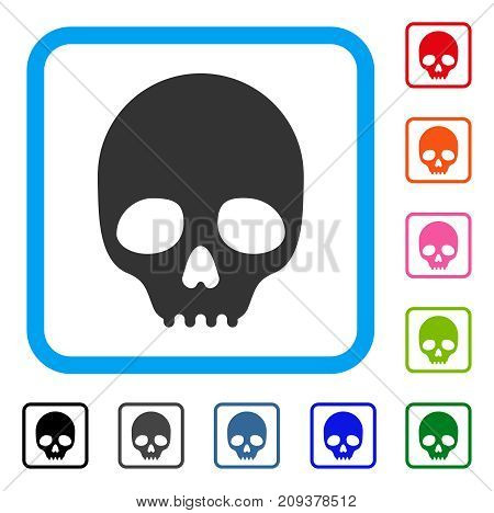Skull icon. Flat grey iconic symbol inside a light blue rounded square. Black, gray, green, blue, red, orange color versions of Skull vector. Designed for web and application interfaces.