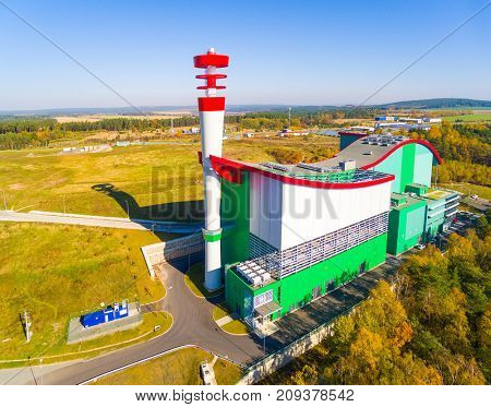 PILSEN CZECH REPUBLIC - OCTOBER 16, 2017: Waste incineration plant ZEVO source of heat and energy for for 165, 000 inhabitants of Pilsen city. Industry and environment in European Union.
