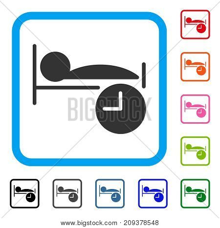 Sleep Time icon. Flat gray iconic symbol in a light blue rounded rectangle. Black, gray, green, blue, red, orange color versions of Sleep Time vector. Designed for web and software user interface.