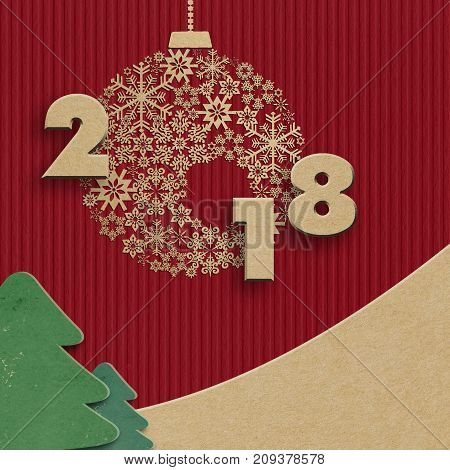 New year 2018 creative paper textured design background for greeting card, invitation, banner. Space for your text