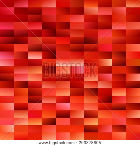 Geometrical gradient rectangle background - digital mosaic vector graphic from rectangles in red tones