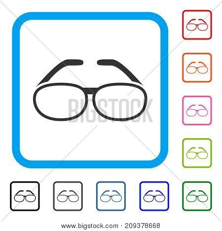 Spectacles icon. Flat grey iconic symbol inside a light blue rounded frame. Black, gray, green, blue, red, orange color additional versions of Spectacles vector. Designed for web and app interfaces.