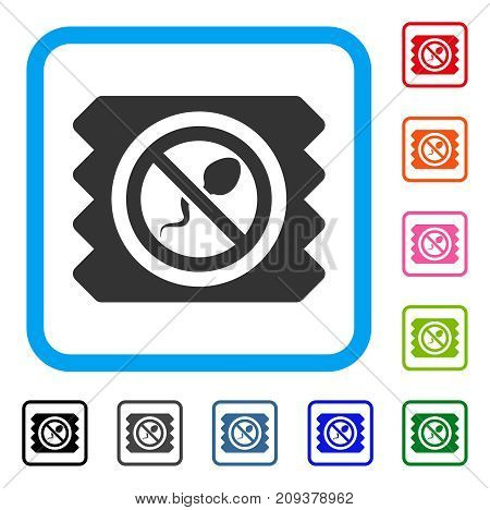 Spermicide Condom icon. Flat grey iconic symbol in a light blue rounded squared frame. Black, gray, green, blue, red, orange color additional versions of Spermicide Condom vector.