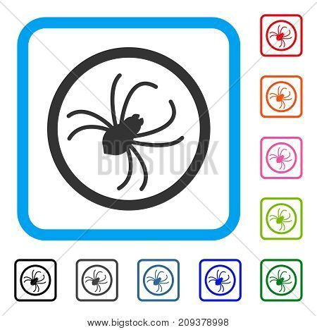 Spider icon. Flat gray iconic symbol in a light blue rounded rectangle. Black, gray, green, blue, red, orange color additional versions of Spider vector. Designed for web and software interfaces.