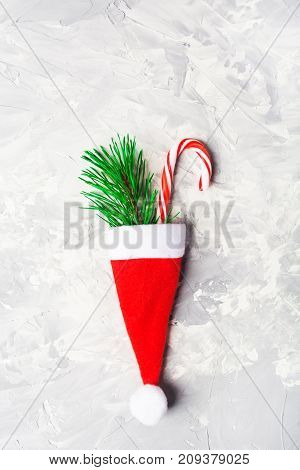 Christmas And New Year Signs - Red Santa Hat, Fir Tree And Candy