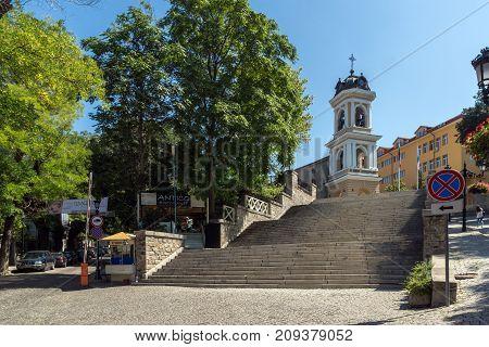 PLOVDIV, BULGARIA - SEPTEMBER 1, 2017:  Church of Assumption of Virgin Mary in city of Plovdiv, Bulgaria