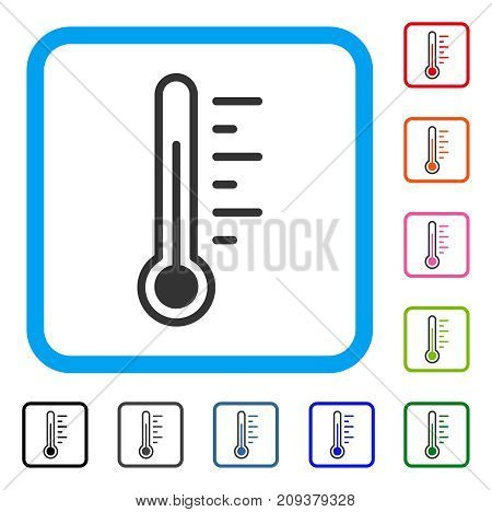 Temperature Level icon. Flat gray iconic symbol in a light blue rounded square. Black, gray, green, blue, red, orange color versions of Temperature Level vector.
