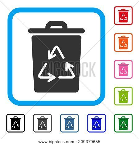 Trash Can icon. Flat grey iconic symbol in a light blue rounded square. Black, gray, green, blue, red, orange color versions of Trash Can vector. Designed for web and app user interface.