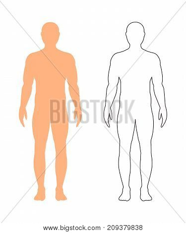 Male silhouette (contour) with a sports figure in full growth isolated on a white background. Vector illustration.