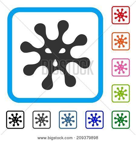 Virus icon. Flat gray pictogram symbol inside a light blue rounded rectangular frame. Black, gray, green, blue, red, orange color variants of Virus vector.