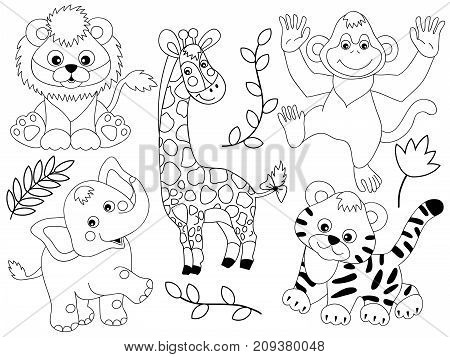 Vector set of black and white safari animals. Set includes tiger, giraffe, monkey, lion and tiger. Vector jungle animals. Safari animals vector illustration