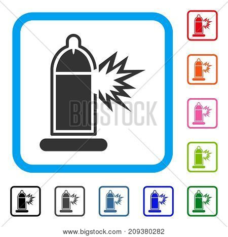Condom Penis Damage icon. Flat gray pictogram symbol in a light blue rounded rectangular frame. Black, gray, green, blue, red, orange color additional versions of Condom Penis Damage vector.