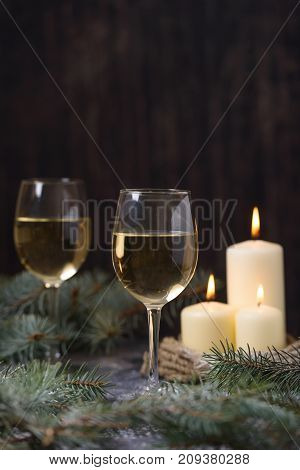 Two Glass Wine And Candles