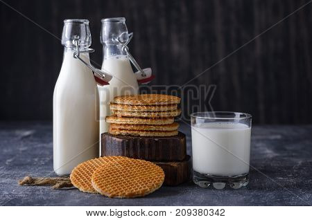 Glass, Two Bottle Of Milk And Cookies With Jam