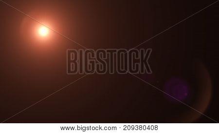 Lens flare effect on dark background. Digital colorful illustration.