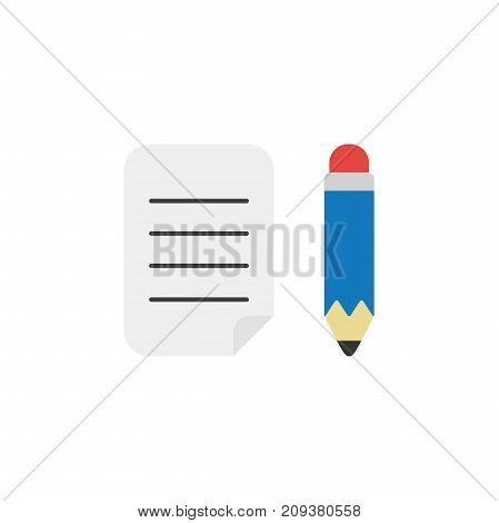 Flat Design Style Vector Concept Of Written Paper With Pencil
