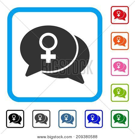 Female Chat icon. Flat grey pictogram symbol inside a light blue rounded frame. Black, gray, green, blue, red, orange color versions of Female Chat vector.
