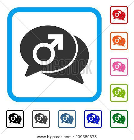 Male Chat icon. Flat gray iconic symbol in a light blue rounded squared frame. Black, gray, green, blue, red, orange color variants of Male Chat vector. Designed for web and app interfaces.
