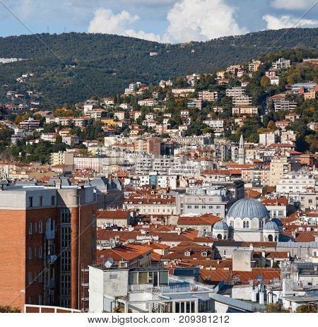 Aerial view of the city center. Trieste, region Friuli-Venezia Giulia, Italy.