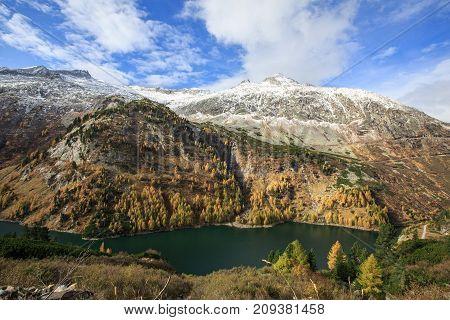 Galgenbichl dam and reservoir in the Hohe Tauern range within Carinthia, Austria.