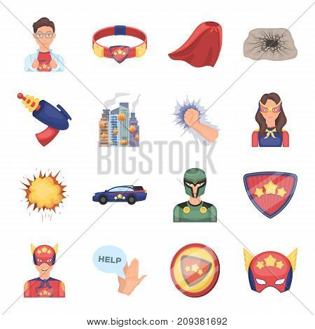 Suit, sign, and other  icon in cartoon style. Lifeguard, protector, superpower icons in set collection