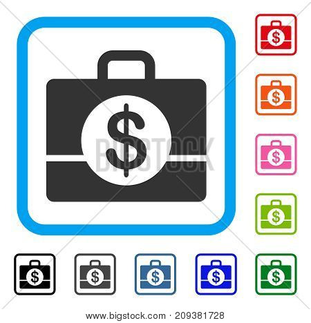 Accounting Case icon. Flat gray pictogram symbol inside a light blue rounded squared frame. Black, gray, green, blue, red, orange color variants of Accounting Case vector.